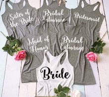 set of 6 Personalized Bride maid of honor wedding Bridesmaid tops Bachelorette tanks t shirts gift bridal party favors gfits
