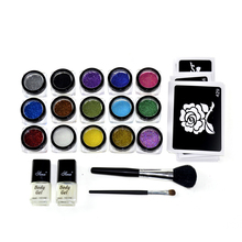 GIitter boby art tattoo kits 15 Colors Temporary  Glitter Tattoo Kit for Body Art Dwith Stencil Glue and Brushes GTTK-3 T008 DD
