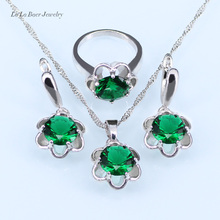L&B Bridal jewelry set for women silver 925 drop earrings jewelry white zircon green created emerald necklace ring earring
