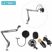 LETSBAY LS-800 Studio Broadcasting Recording Condenser Microphone w/ Adjustable Suspension Scissor Arm Stand Mounting Clamp Kit
