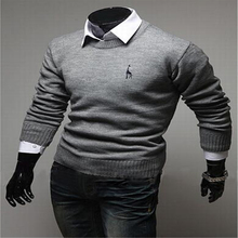 Man Sweater Solid Korean Polo Sweaters Masculino Christmas Long Sleeve Pull Homme Knitted Mens Jumpers O-neck Merino Pullover(China)