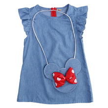 2017 New Cute  Girl  Bow  Mouse Bag plisset Denim Casual Dresses Holiday Dresses