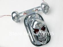 Free Shipping Chrome Skull Integrated Rear Tail Light Side Mount Plate w/ Turn Signal for Harley Honda Suzuki Yamaha Kawasaki(China)