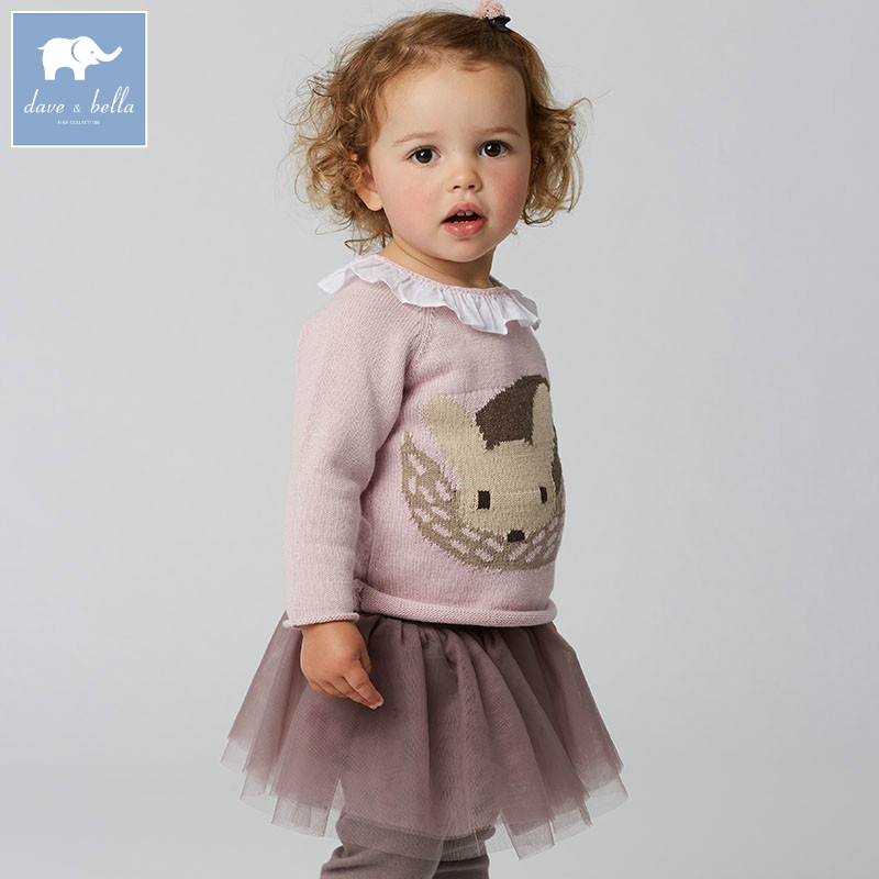 DB5994 dave bella autumn newborn baby girls wool pullover tops infant clothes toddler children knitted Sweater<br>