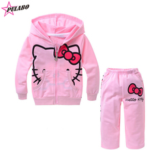 2016 spring autumn Baby Girls sets Children's Hello Kitty clothing set pink Hooded cartoon jacket+pants 2pcs