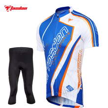 Tasdan Short Sleeve Cycling Jerseys Sets Men Cycling Padded Jerseys and Short Tights 3/4 Pants Sets Sports Clothing Wear(China)