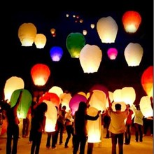 10pcs Kongming Festival Lantern Paper Lamps Flying Wishing Lantern Outdoor Solid Party Decoration Balloon casamento Mix Colors