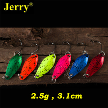 Jerry 6pcs 2.5g pesca lightweight micro fishing spoon trout trolling spoons metal lures multiple colors freshwater fishing bait