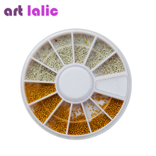 New arrival Hot Sales 2000 3D Nail Art Steel Mini Ball Beads 0.9 mm with Wheel Silver & Gold Decoration New(China)