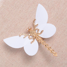 Korean Bride Ornaments Golden Zinc Alloy Dragonfly White Butterfly Hairclips Imitation Pearls Jewelry Wedding Hair Accessories
