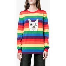 The spot offer new autumn and winter Kitty rainbow stripe sweater knit shirt coat girl Applique