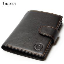 High Quality 2017 New Style Layer Of Import Oil Wax Cowhide Medium Paragraph Buckle Leather Wallet Men's Purse