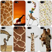 Giraffe Cubs Black Plastic Case Cover Shell for iPhone Apple 4 4s 5 5s SE 5c 6 6s 7 Plus(China)