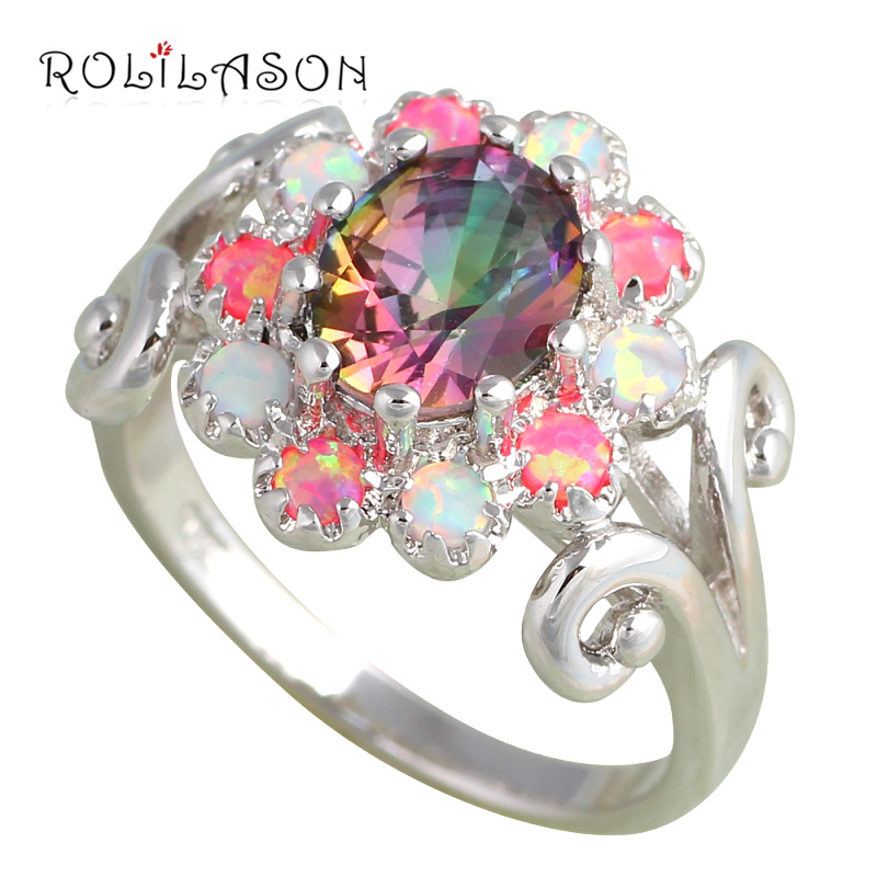hot multi jrose rainbow item mystic jewelry topaz engagement fire cz sterling rings color explosion wedding silver ring