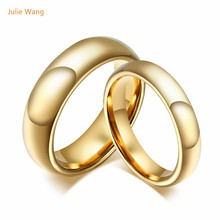 Julie New 1pcs Fashion Hot Sell Rings Exquisite Polishing Gold Color Tungsten Steel Rings Fit Wedding Gift Celebration