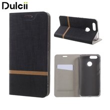 Dulcii for Huawei nova2 Phone Cases Cross Pattern Leather Card Holder Phone Case (Built-in Steel Sheet) for Huawei Nova 2
