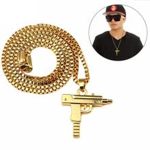 Hip Hop Necklace Gold color Submachine Gun Fashion Jewelry Pistol Pendant Gun Necklace Gold Chain For Men Women