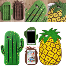 2016 New HOT! Funny 3D Cute Cartoon Cool Fruit Cactus Pineapple Soft Rubber Silcion Case For iPhone 7 5 5S SE  iPhone 6 6S Plus