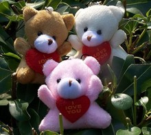 wholesale 6cm holding heart  teddy  Bear,small bear use for callphone,promotion toy gifts,cartoon bouquet 40pcs/lot