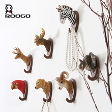 ROOGO 3D Resin Animal Wall Hook 7 Shape Animal Head Wall Stickers Coat Track Decorative Pothook Hat Coat Hook Clothes Rack(China)