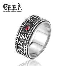 BEIER Wholesale Price Punk Men Ring 316L Stainless Steel Red CZ Lucky Power Mantra Antique Jewelry BR8-109(China)