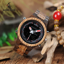 BOBO BIRD WP02 Wooden Watches Original Luxury Brand Dual Display Quartz Watch for Men LED Digital Army Military Sport Wristwatch(China)