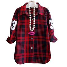 2016 Fashion Children Casual Long Sleeves Plaid Shirt Blouse Baby Girls School Cotton Clothes Kids Casual Clothes 2 colors(China)