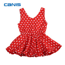 Infant Kids Baby Girl Clothing Sleeveless All Heart Printed Red Yellow V-neck Dress Princess Party Wedding Gown Cute Dress 6M-5T(China)