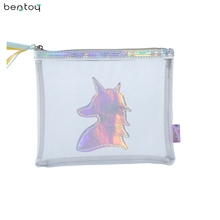 Bentoy tassels women mesh cosmetic bag fashion beauty case makeup unicorn Organizer Bag Holograms Mini Travel Wash pouch