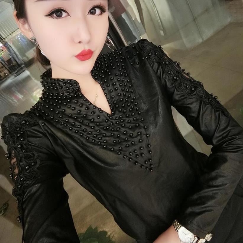 plus size 3XL Women PU leather shirt fashion V-neck beaded hollow out black slim LONF SLEEVE pu blouse tops