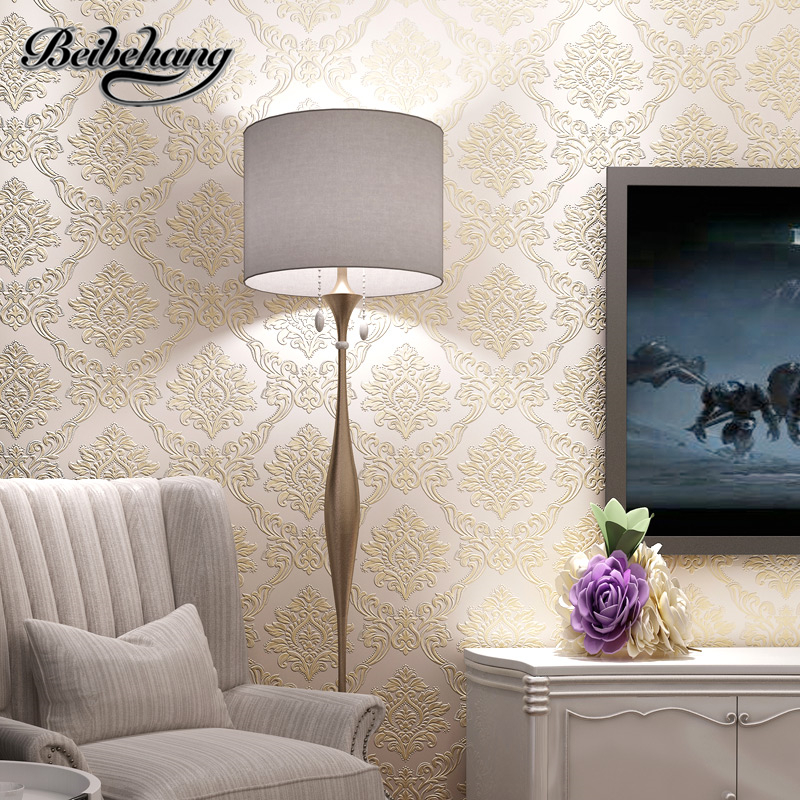 beibehang European style Damascus 3D stereoscopic environmental nonwovens wallpaper warm bedroom living room TV wall wallpaper<br>