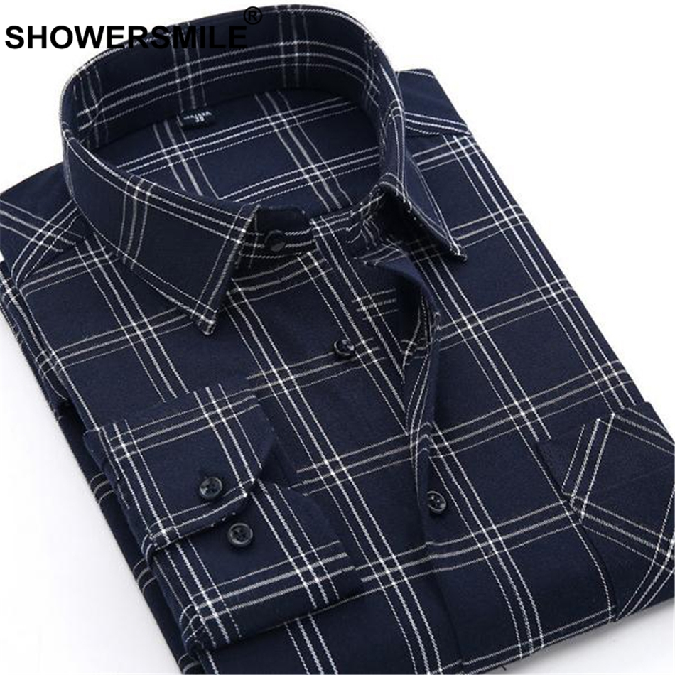 3012899235d 2019 SHOWERSMILE Purple Shirt Men Long Sleeve Plaid Flannel Shirt ...