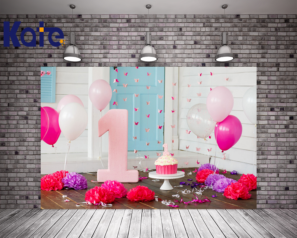 Kate Custom Made Happy Birthday Theme Background Children Pink Festival Photography Backdrops Ballons Party Backdrop Photo Prop<br>
