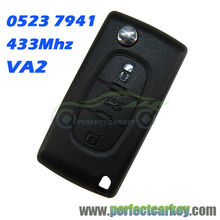 3button CE0523 VA2 Groove 433Mhz ID46 7941 Chip car remote control auto flip remote key for Peugeot 207 307 307S 407 607