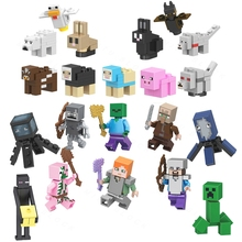Single Sale Legoinglys Minecrafted Mini Animals Figures Steve Alex Zombie Creeper Villager Legoing Minecrafting Building Blocks(China)