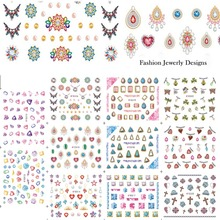 11 Designs Gorgeous Jewelry Diamond Necklace Pattern Nail Art Sticker Sets 3d DIY Women Designs Nail Decals Tips E512-522(China)