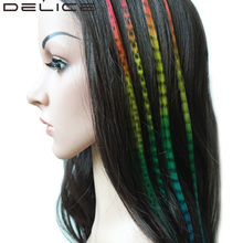 DELICE 5 Strands/Pack Rainbow Fusion Grizzly Straight Synthetic I-Tip Feather Hair Extensions With Micro Silicone Beads For Free(China)