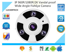 Luckertech 960P/1080P/2K IP POE Audio Camera Vandal proof Wide Angle FishEye 1.7mm Lens Camera CCTV Indoor ONVIF 3 Array IR LED(China)
