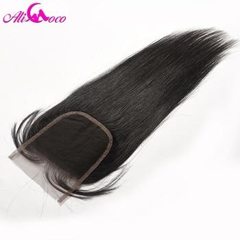 Али Коко волосы бразильский прямо закрытия шнурка с ребенком волос 4x4 свободная часть человеческих волос застежка не remy волос Бесплатная до...