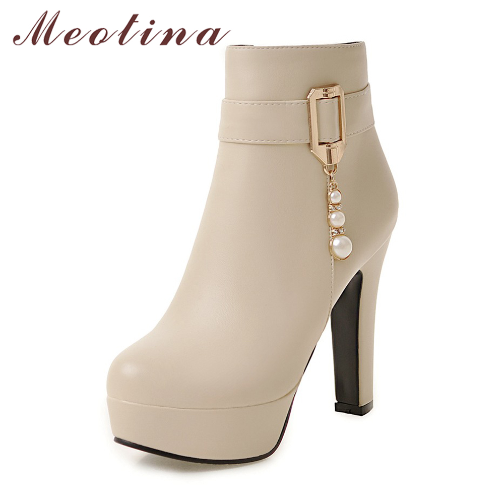 Meotina Winter Boots Fur Beading Women Platform Boots Buckle High Heel Ankle Boots Zip Round Toe Shoes Ladies Beige botas mujer<br>