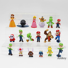 Wholesale Retail Free Shipping Plastic Super Mario Bros PVC Action figures Toys Dolls 18pcs/set KT3863(China)