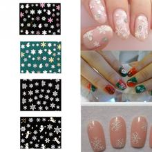 Fashion 1sheet Water Transfer Nail Art Decals 3D Snowflake Angel Nail Stickers Nail Art Decorations Winter Christmas Nail Design