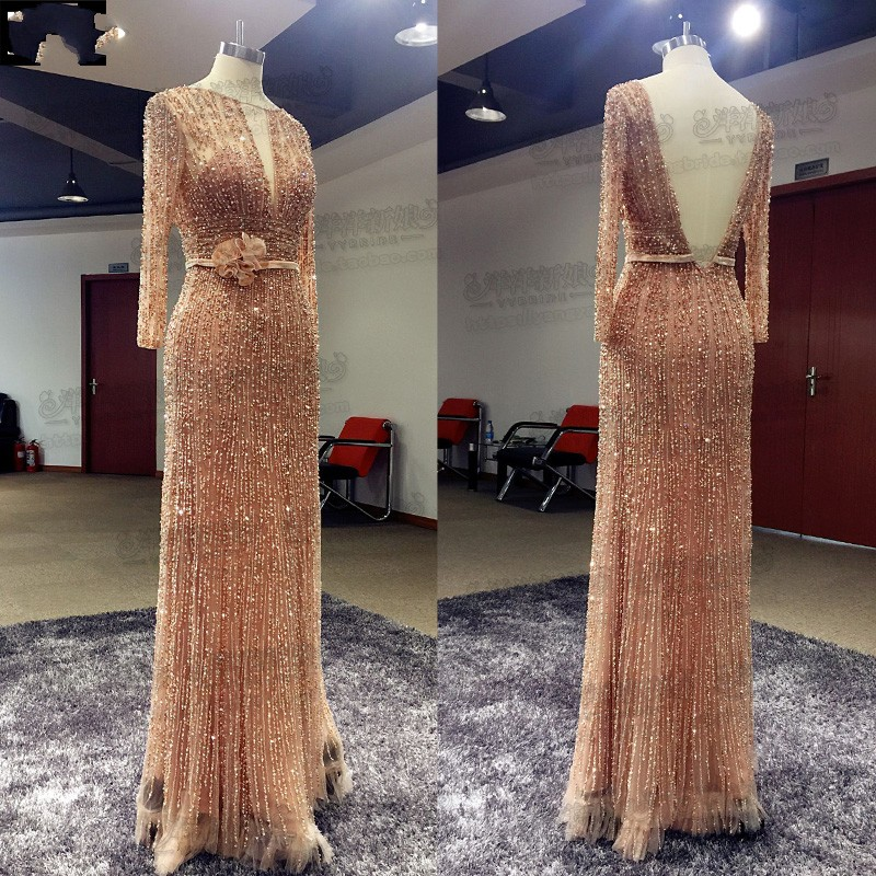 hande-made elie saab nude evening dress