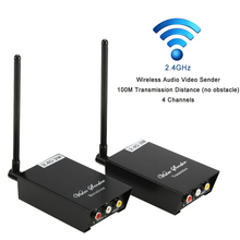 2.4GHz 2W Wireless Audio Video Transmitter Receiver A/V Sender 100M Transmission Distance 4 Channels for DVD TV Camera