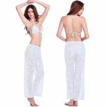 Summer Sexy Straight Fitness Trousers Breathable Hollow Crochet Lace Women Beach Pants Casual Wide Leg Boho Pants Capris