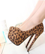 hot sale Spring leopard fine high heel fashion sexy women single shoes round head Waterproof Taiwan club party shoes