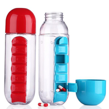 600ml Sports Plastic Water Bottle Combine Daily Pill Boxes Organizer Drinking Bottles Leak-Proof Bottle Tumbler Outdoor BPA Free