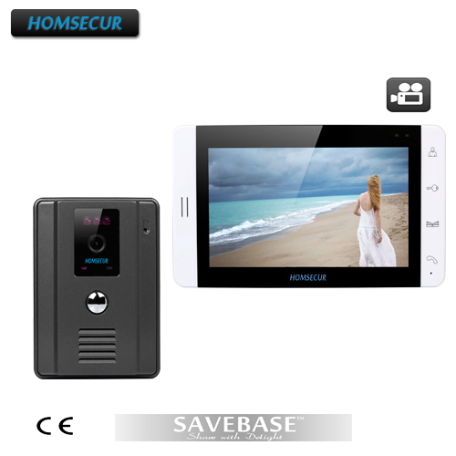 "HOMSECUR New Wired Video Intercom Doorbell Recording And Photo Taking 7""Monitor IR Camera(China (Mainland))"