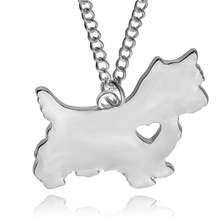 2017 the latest fashionable hot style metal heart dog west highland white terrier pendant necklace