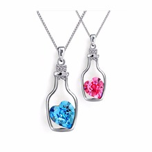 NK712 Hot Fashion Punk Collares Men Bijoux Wish Bottle Crystal Heart Pendant Necklace For Women Chain Jewelry Statement collier(China)
